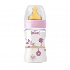 Chicco Benessere Plastica Bambina Biberon, Caucciù, Flusso Regolare, 150 ml, Rosa