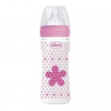 Chicco Benessere Plastica Bambina Biberon, Silicone, Flusso Medio, 250 ml, Rosso