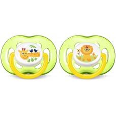 Philips Avent SCF186/23 Succhietti Airflow Giungla - con Tettarelle ortodontiche, senza BPA (18m+) - 2 pezzi, Giraffa e Leone