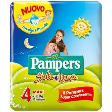 Pampers Sole e Luna Pannolini Maxi, Taglia 4 (7-18 kg), 18 Pannolini