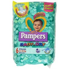 Pampers Baby-Dry, Pannolini Extralarge, 15-30 Kg - 15 Pezzi