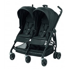 Bébé Confort Dana For2 Passeggino Gemellare Fratellare Compatto, Reversibile Reclinabile, Sedute Affiancate, Triangle Black