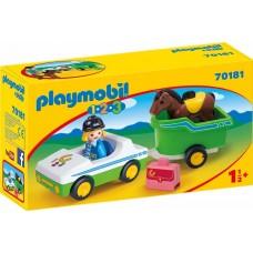 PLAYMOBIL Auto con trasporto cavalli 1.2.3