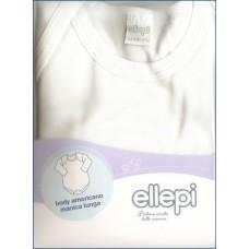 Ellepi  Body americano cotone garzato manica lunga, Bianco, 6 mesi